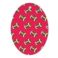 Pink Football Flip Flops Oval Ornament