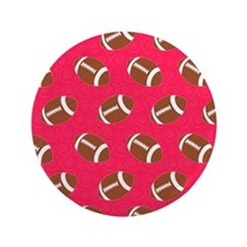 """Pink Football Flip Flops 3.5"""" Button"""