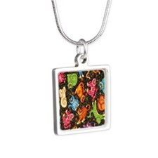 Catty Multi Cat Black Silver Square Necklace