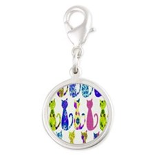 Calico Cat copy Silver Round Charm