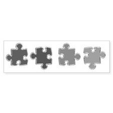 Chrome Puzzle Pieces Chrome Bumper Sticker