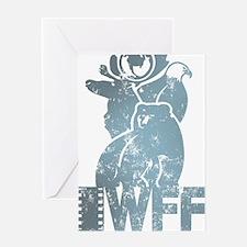 IWFF-retro-blugreen Greeting Card
