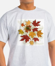 Maple Leaves in Autumn Ash Grey T-Shirt
