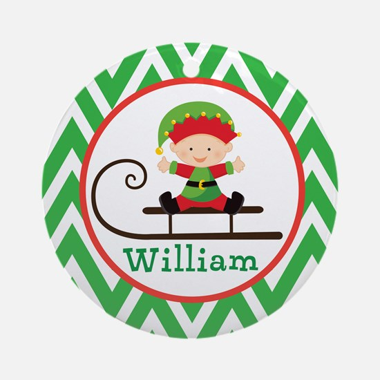 Personalized Elf Christmas Chevron Ornament (Round
