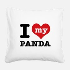 i love my Panda Square Canvas Pillow