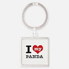 i love my Panda Square Keychain