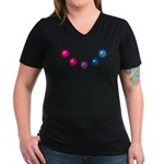 Bi Baubles Women's V-Neck Dark T-Shirt