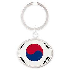 Flag_of_South_Korea Oval Keychain