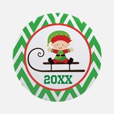 Custom Christmas Elf Chevron Ornament (Round)