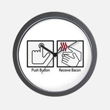 Push Button, Recieve Bacon  Wall Clock