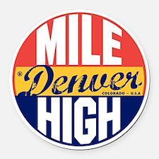 Denver Vintage Label B Round Car Magnet