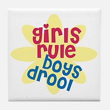 girls rule boys drool.gif Tile Coaster