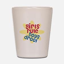 girls rule boys drool.gif Shot Glass