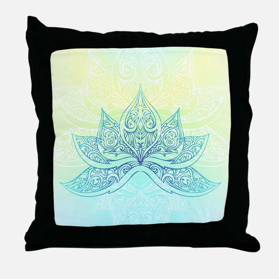 Pale Blue Lotus Throw Pillow