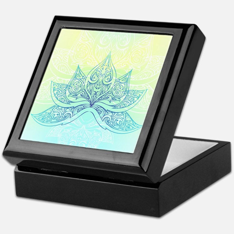Pale Blue Lotus Keepsake Box