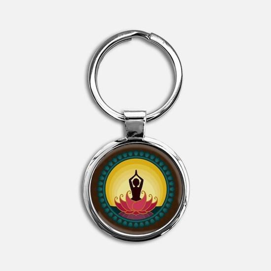Sunrise Yoga Art Round Keychain