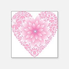 "Pale Lotus Heart Square Sticker 3"" x 3"""