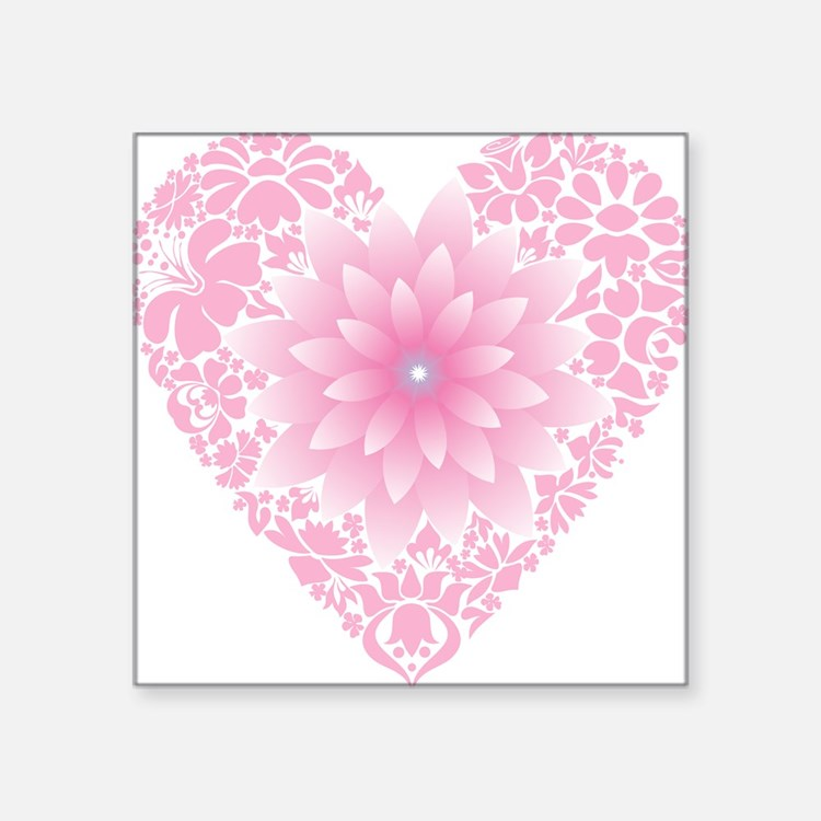 "Pale Lotus Heart Square Sticker 3"" x 3"""