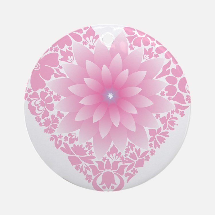 Pale Lotus Heart Round Ornament