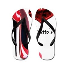 love red stiletto and heart Flip Flops
