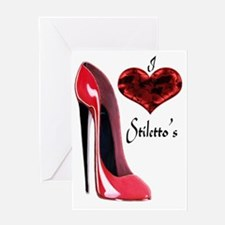 love red stiletto and heart Greeting Card