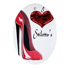 love red stiletto and heart Oval Ornament