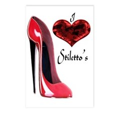 love red stiletto and hea Postcards (Package of 8)