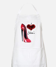 love red stiletto and heart Apron