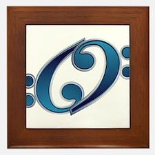 Blue YY Bass Clef Framed Tile