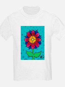 Pink and Blue Flower Kids T-Shirt