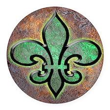 Green Fleur De Lis Round Car Magnet