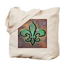 Green Fleur De Lis Tote Bag