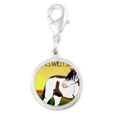 Shaman in living color Silver Round Charm