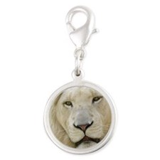 blonde lion pillow Silver Round Charm