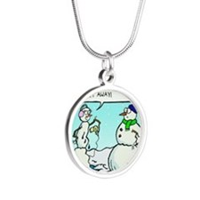 weight loss for snowmen Silver Round Necklace