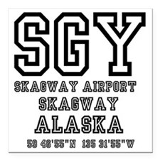 """AIRPORT CODES - SGY - SK Square Car Magnet 3"""" x 3"""""""