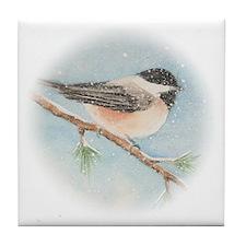 Chickadee Holiday Card Tile Coaster