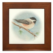 Chickadee Holiday Card Framed Tile