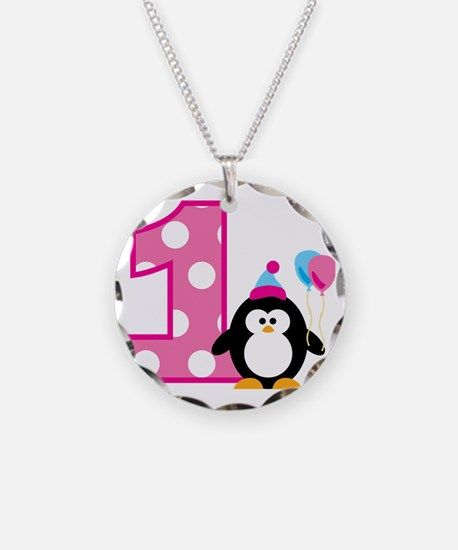 PenguinBirthday1_V2 Necklace Circle Charm