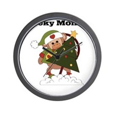 cheeky monkey christmas Wall Clock