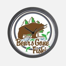 Bear's Gone Fishn' Wall Clock
