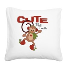 cute but trouble christmas mo Square Canvas Pillow