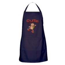 cute but trouble christmas monkey Apron (dark)