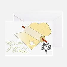 FINALhowIRoll-darkbgSOFT Greeting Card