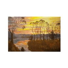 Riverbank sunset Rectangle Magnet