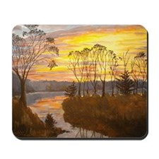 Riverbank sunset Mousepad