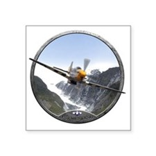 "P-51 Mustang Square Sticker 3"" x 3"""
