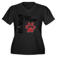 D Rottweiler Women's Plus Size Dark V-Neck T-Shirt