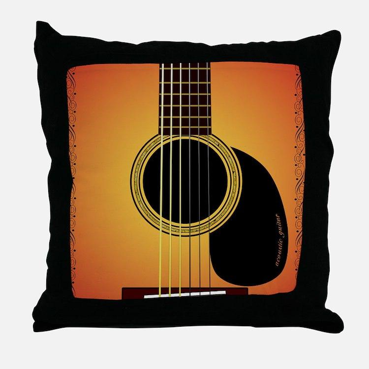 acousticguitar-cherrysunburst_FPprint Throw Pillow