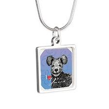 pumi-button Silver Square Necklace